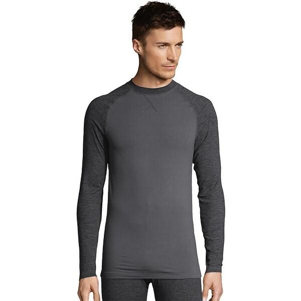 7d789b1a1 Shop Hanes Men's Space Dye 4-Way Stretch Thermal Crewneck - Color -  Asphalt/Asphalt Space Dye - Size - L - Free Shipping On Orders Over $45 -  Overstock - ...