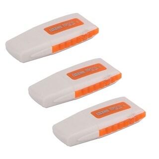 Plastic USB Micro SD Trans Flash Memory Card Reader Orange White 3 PCS