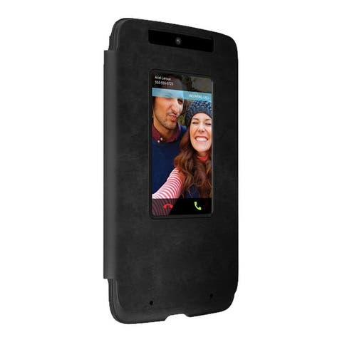 Motorola Droid Turbo (XT1254) Flip Case - Black Leather/Gray Suede