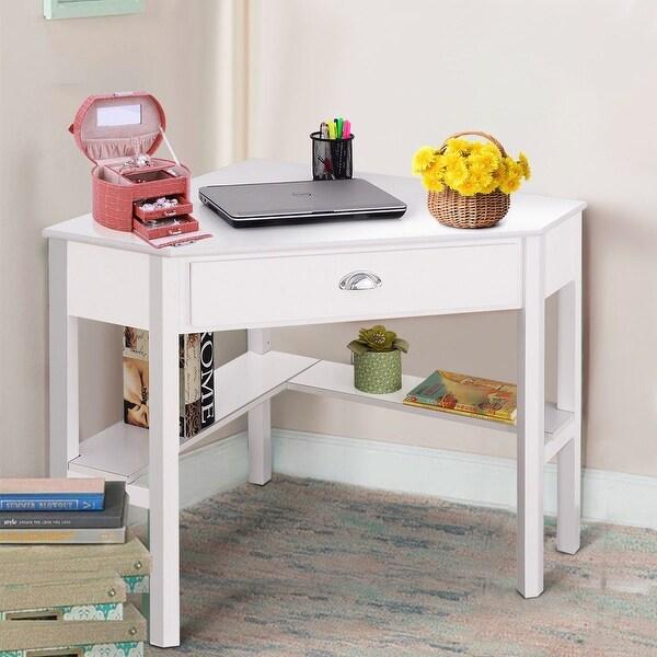 Shop Costway Corner Computer Desk Laptop Writing Table Wood Workstation Home Office Furniture ...