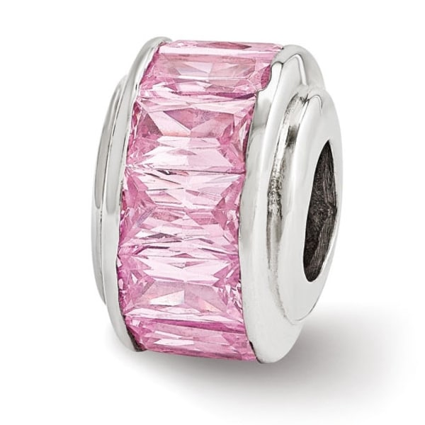 Italian Sterling Silver Reflections Pink CZ Bead (4mm Diameter Hole)