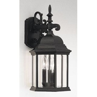"Designers Fountain 2981-BK 3 Light 9.5"" Cast Aluminum Wall Lantern from the Devonshire Collection"