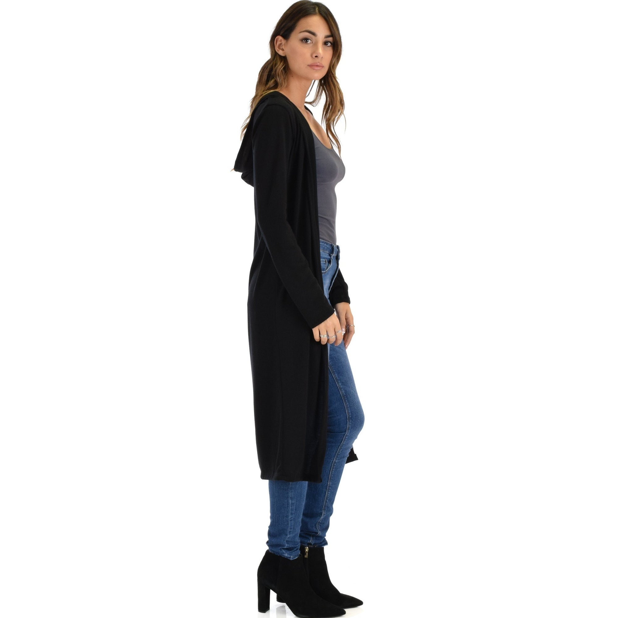 5eb89068e37 cover me up long line black hooded cardigan-Black-Small