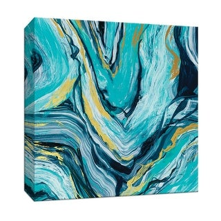 "PTM Images 9-147635  PTM Canvas Collection 12"" x 12"" - ""Teal Agate Gold Accent I"" Giclee Abstract Art Print on Canvas"