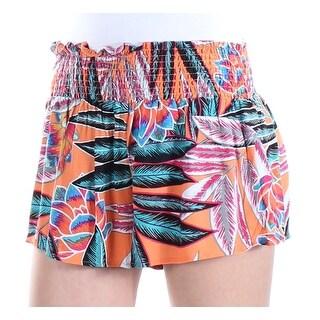 Womens Orange Blue Cropped Short Size XS