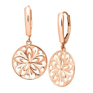 Just Gold Floral Medallion Drop Earrings in 14K White Gold - Pink