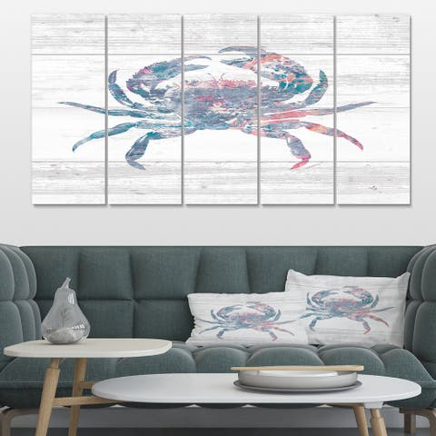 Designart 'Pink Crab Ocean Life' Nautical & Coastal Canvas Artwork