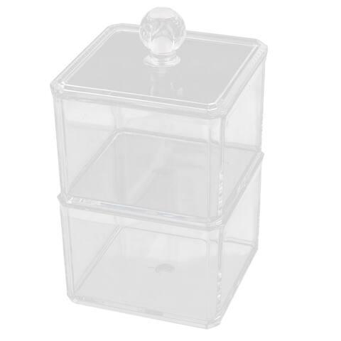 Acrylic 2 Slots Cotton Pads Lipstick Nail Polish Jewelry Box Organizer Clear