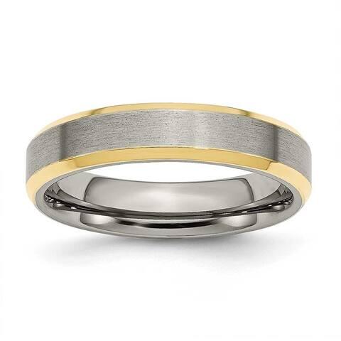 Titanium 5mm Gold-plated Beveled Edge, Brushed & Polished Band