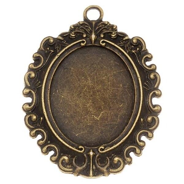 Antiqued Brass Victorian Bezel Pendant 30.5x38.5mm (1)