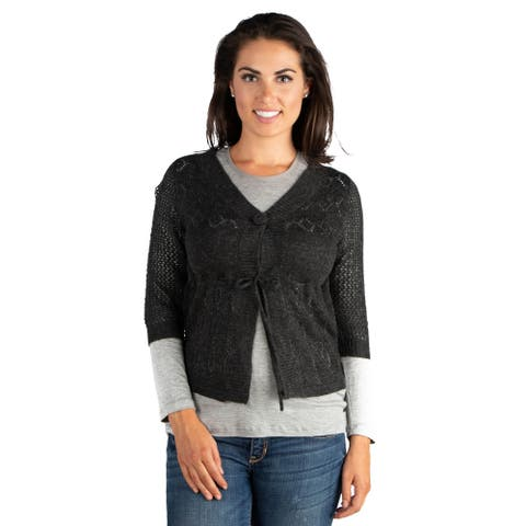 24seven Comfort Apparel Womens Grey Chic Cropped Cardigan