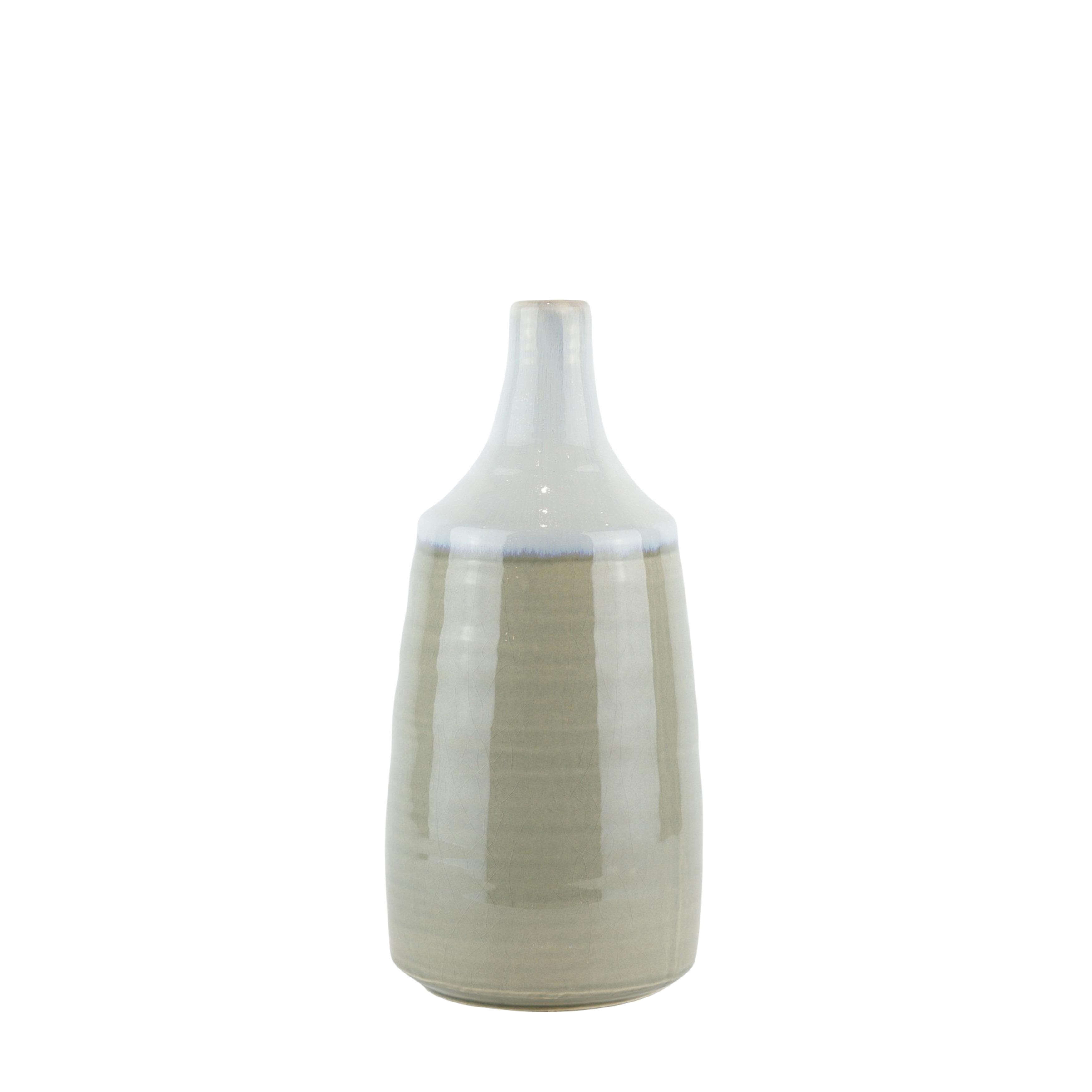 Round Shape Decorative Ceramic Vase with Elongated Neck, White and Gray