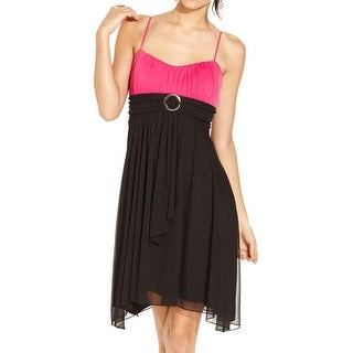 Ruby Rox Womens Juniors Party Dress Two-Tone Pleated