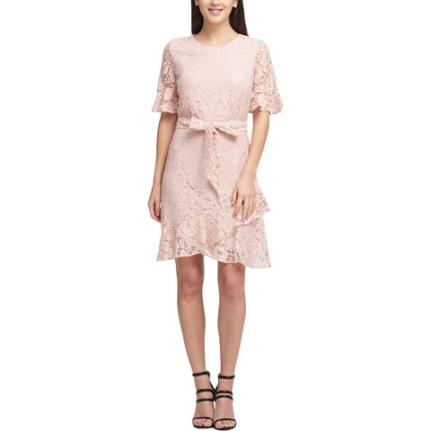 DKNY Womens Cocktail Dress Lace Elbow Sleeves