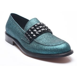 Bruno Magli Men's Leather Wood Pelotty Glitter Studded Loafer Shoes Teal Blue Aqua