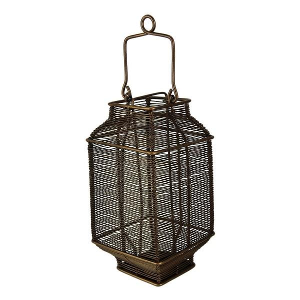 Bronze Spun Wire Metal Square Candle Lantern - 12.5 X 4.5 X 4.5 inches