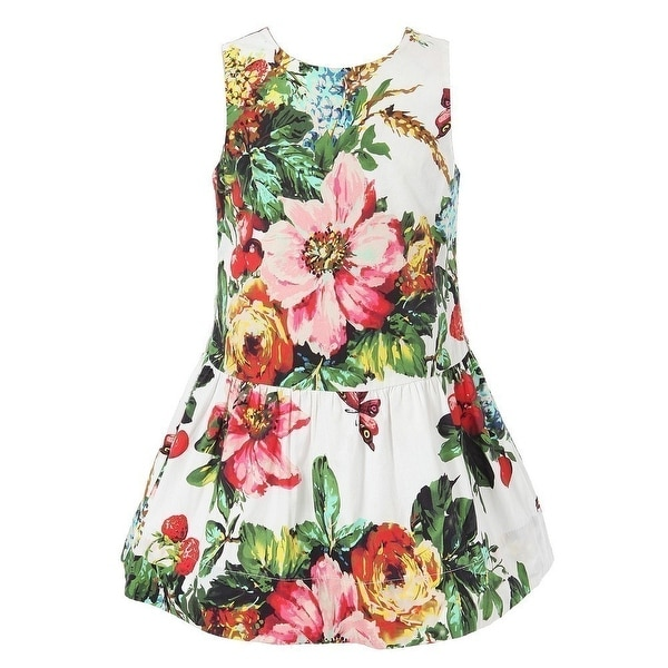 Richie House Baby Girls Colorful Bow Headband Floral Printed Sundress 24M