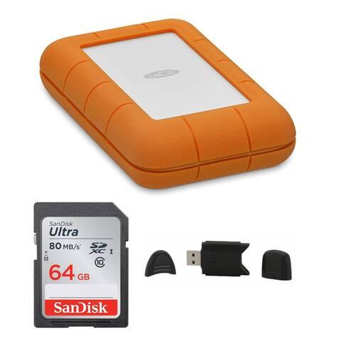LaCie Rugged Thunderbolt USB-C 500GB Portable Hard Drive Bundle