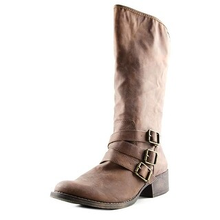 Madden Girl Dakotaaa Women Round Toe Synthetic Brown Mid Calf Boot