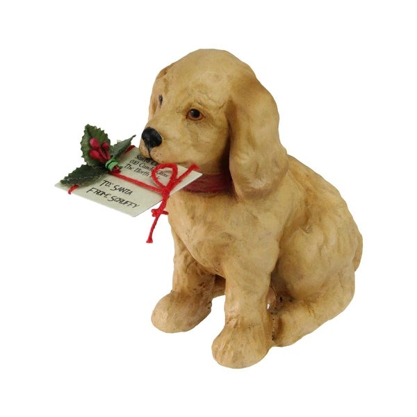 "4"" Golden Labrador Puppy with a Note to Santa and Red Bow Christmas Decoration - brown"