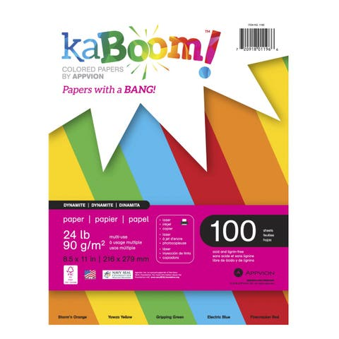 Kaboom Dynamite Copy Paper, 8-1/2 x 11 Inches, Primary Colors, 100 Sheets