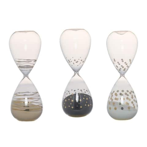Set of 3 White Modern Chic Style Dixie Hourglasses 3.5""