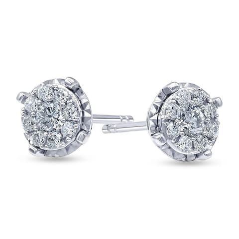 1/2 Carat Diamond, Cluster Set Sterling Silver Round Lab Grown Diamond Cluster Stud Earring (I,SI1) by Grown Brilliance