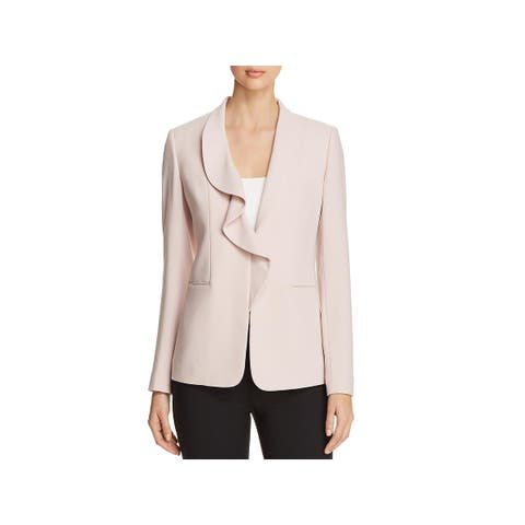 Elie Tahari Womens Siyah Open-Front Blazer Cascade Ruffled Suit Seperates