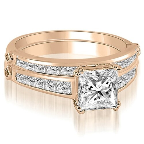 2.20 cttw. 14K Rose Gold Channel Set Princess Cut Diamond Bridal Set
