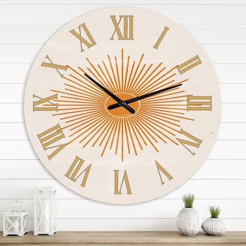 Designart 'Orange Sun Print II' Modern wall clock