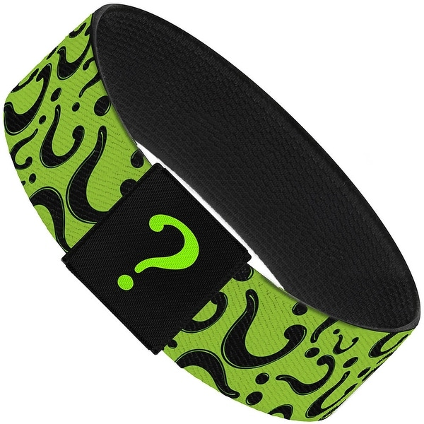 Question Mark Scattered Lime Green Black Elastic Bracelet