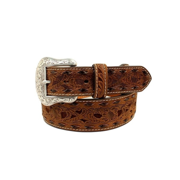Nocona Western Belt Mens Tapered Scroll Peirce Buck Lace Edge