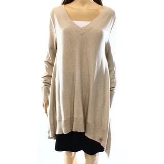 Vertical Design NEW Beige Women's Large L Ribbed Trim V-Neck Sweater