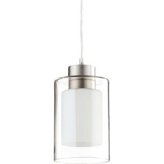 Quorum International Q882 1 Light Mini Pendant with Glass Cylinder Shade