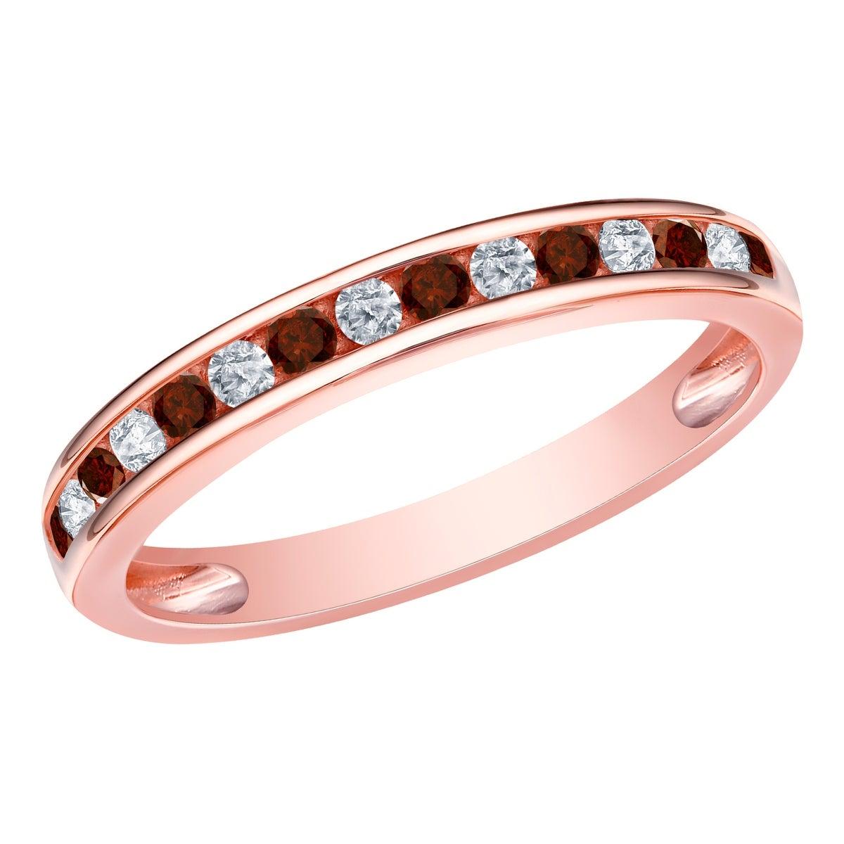Prism Jewel 0.30Ct Round Red Diamond With Diamond Anniversary Ring