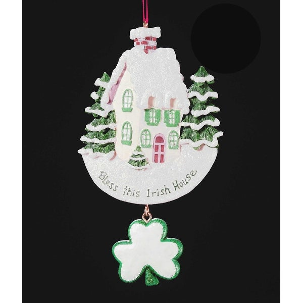 club pack of 12 bless this irish house christmas ornaments for personalization white - Overstock Christmas Decorations