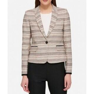 Tommy Hilfiger NEW Beige Womens Size Striped One-Button 16 Blazer