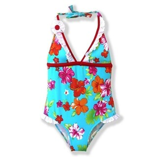 Azul Little Girls Red Turquoise Floral Totes Cute One Piece Swimsuit (3 options available)