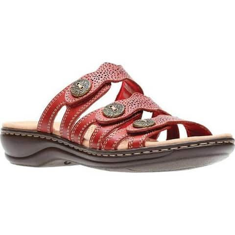 b81726c321dd Clarks Women s Leisa Grace Strappy Slide Red Full Grain Leather