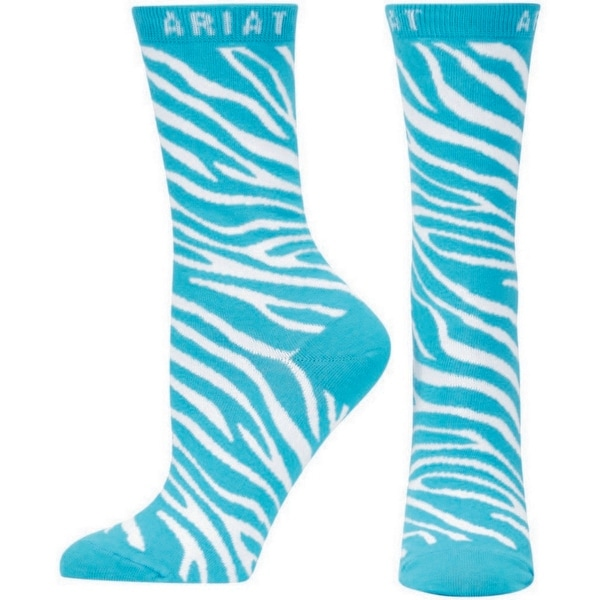 Ariat Socks Womens Western Zebra Crew Blue Bird White