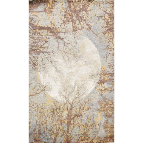 """Wool/ Silk Artistic Abstract Oriental Modern Area Rug Hand-knotted - 5'6"""" x 8'7"""""""
