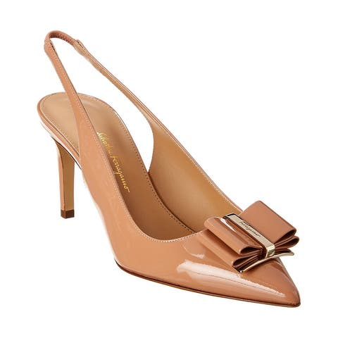 Salvatore Ferragamo Double Bow Leather Slingback Pump
