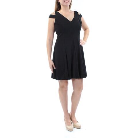 Womens Black Sleeveless Mini Fit + Flare Cocktail Dress Size: 12