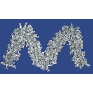 """9' x 12"""" Pre-Lit Silver Tinsel Artificial Christmas Garland - Clear Lights"""