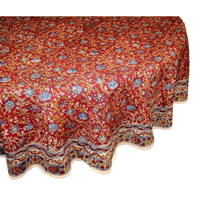 Vegetable Dye Hand Block Print Floral Cotton Round Tablecloth Rectangular, Square, Napkins - Thumbnail 4