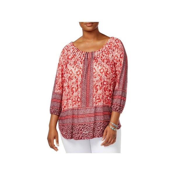 4f67080b24e Shop Lucky Brand Womens Plus Peasant Top Scoop Neck Hi-Low - Free ...