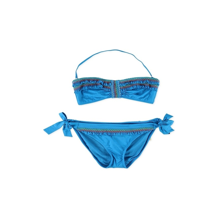 Lucky Brand Womens Fiesta Hipster Side Tie 2 Piece Bandeau blue Medium