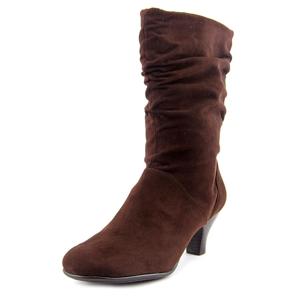 Aerosoles Wise N Shine Women Round Toe Synthetic Brown Mid Calf Boot