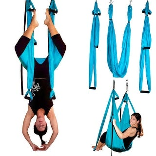 Image Yoga Swing Inversion Sling Trapeze Yoga Hammock Flying Antigravity Blue