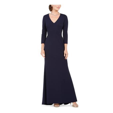 JESSICA HOWARD Navy 3/4 Sleeve Full-Length Dress 8